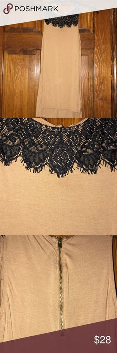 Sleeveless Blouse Dark tan sleeveless Blouse with a zipper on the back. Express Tops Blouses