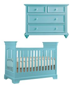 so cute! Surf Blue Tribute Crib & Single Dresser by Young America on #zulily today!
