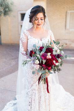 Blush and Crimson Arizona Wedding with Pops of Navy Blue