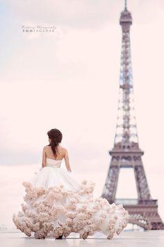 A Dream! Love this Ballgown Wedding Dress at the Eiffel Tower.
