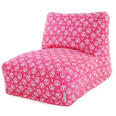 Hot Pink And White Peace Lounger Foam Bean Bag Chair