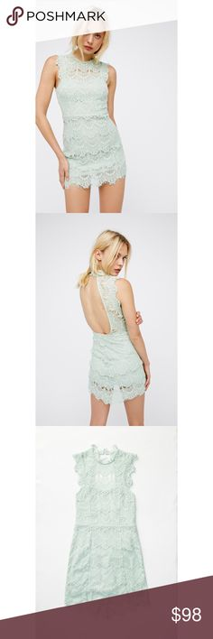 """FREE PEOPLE lace seafoam green mini dress Flattering bodycon silouette lace mini dress from Free People. Softly lined on the inside. Open back style with double button closure at neck. Fit may be a bit looser on the top if you have a smaller bust. Elegant scalloped trim and high neckline. Frayed lace edges. 30"""" bust, 29"""" waist, 38"""" hips, 34"""" length.   Size: S Retail: $98 Free People Dresses Mini"""