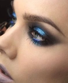 Shades of cerulean eyeshadows used to create this look