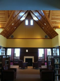 Harvard Public Library -- another great roof, over fireplace with seating