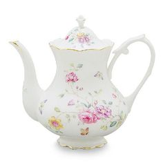 Butterflies and wispy bouquets of multi-color flowers are portrayed in an enchanting garden scene for a stylish look. This porcelain teapot coordinates beautifully with white accessories. Made of high quality porcelain, it has a 4 cup capacity with gracefully accented gold edges. Mix and match this pattern with other floral patterns for your next English …