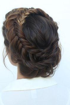 boho wedding hairstyles bohemian braided crown updo ihms #weddinghairstyles