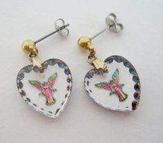 Vintage 80s Fantasy Kitsch Gold Tone Clear Glass Crystal Intaglio Engraved Aurora Borealis Angel Heart Earrings by ThePaisleyUnicorn, $6.00