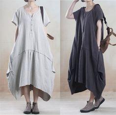 Women cotton linen loose fitting summer short sleeve maxi dress - Tkdress - 1