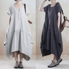 Women cotton linen loose fitting summer short sleeve maxi dress - Tkdress - 1
