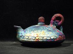 "Small Flat Raku teapot. 3"" x 4"". $35.00, via Etsy."