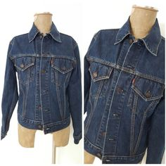 Levis Jean Jacket Size Medium Dark Denim 70505 Blue Trucker Unisex Coat #Levis #JeanJacket