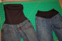 Love this! How to turn regular jeans into maternity jeans by sewing on a belly band.