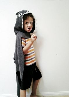 Grey Shark Cape *Made to Order* This fun cape is perfect for a simple halloween costume or for every day dress up play. Hand cut shark cape