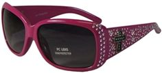 Womens Bling Sunglasses with Cross UV400 Protection Polycarbonate Lenses- Hot Pink