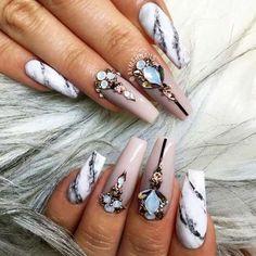 Beautiful Coffin Nail Designs Ideas ★ See more: http://glaminati.com/coffin-nail-designs/