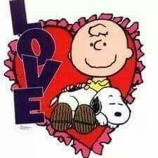 Charlie Brown And Snoopy In A Heart Background.