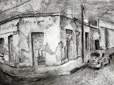 Resultado de imagen de dibujos a carboncillo de paisajes Black And White, Painting, Sketchbooks, Antique Photos, Scenery, Rocks, Ink, Black N White, Black White
