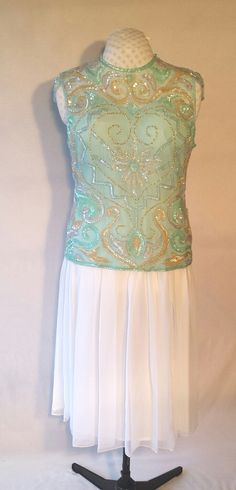 Tiffany blue silk top,white chiffon skirt,heavily beaded and sequined in blue,gold and irridescent clear,short sleeve,upcycled,SizeXL by DoubleTakeGlamour on Etsy https://www.etsy.com/listing/245424046/tiffany-blue-silk-topwhite-chiffon