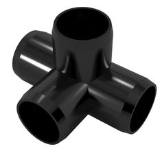 """1"""" 4-Way PVC Furniture Grade Fitting (Black) - Side Outlet Tee"""