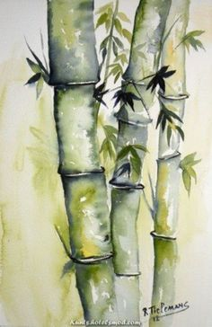 Bamboo, watercolour painting of a plant Watercolor Trees, Watercolor Landscape, Landscape Paintings, Watercolor Paintings, Watercolours, Floral Watercolor, Bamboo Art, Art Japonais, Tree Art