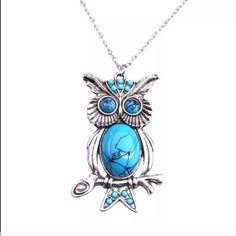 """Owl Pendant Necklace NWT. Long necklace with owl pendant. The owl is about 2-2.5"""" with a turquoise colored stone. NO TRADES Quinn-Tessential Designs Jewelry Necklaces"""