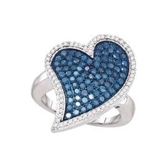 1.50ctw Blue Diamond Heart Ring Blue Diamond Jewelry, Diamond Heart, Heart Ring, Jewelry Collection, Jewels, Detail, Rings, Beautiful, Bijoux