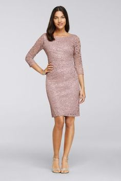 Sequin Lace Dress with 3/4 Sleeves 262948