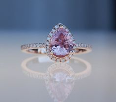 Pear shape Lavender Peach champagne sapphire rose gold diamond ring engagement ring--- or this one might be my favorite! Pink Diamond Jewelry, Diamond Art, Peach Champagne Sapphire, Courthouse Wedding, Dream Ring, Luxury Jewelry, Wedding Bells, Glitters, Bling Bling