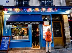 La crêperie des Canettes, Paris 6th.     My friend at work who used to live in St. Germain says this is the best crepe  on the left bank.    La Crêperie des Canettes  10, rue des Canettes, Paris 6th    Métro: Mabillon, Saint-Sulpice or Saint-Germain-des-Prés