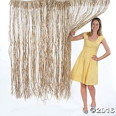 "6 raffia door curtains measuring 40"" x 5 ft"