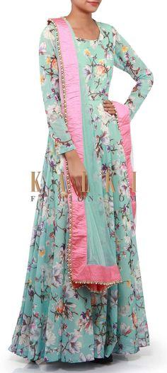 Buy Online from the link below. We ship worldwide (Free Shipping over US$100). Product SKU - 302266. Product Link - http://www.kalkifashion.com/sky-blue-anarkali-suit-adorn-in-rose-motif-print-only-on-kalki.html