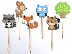 Set of 12 Woodland Animal Cupcake Toppers / Paper by aaahpaper
