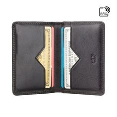 Black Bifold Leather Card Wallet For Men - RFID Smart Wallet - Handmade Compact Genuine Leather Wall Real Leather Wallet, Leather Wallet Pattern, Minimalist Leather Wallet, Leather Card Case, Leather Bifold Wallet, Minimal Wallet, Leather Business Card Holder, Credit Cards, Pocket Wallet