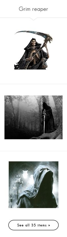 """Grim reaper"" by samantha-and-her-mpd-friends ❤ liked on Polyvore featuring costumes, halloween, death, fantasy, monsters, psd, monster halloween costumes, monster costume, backgrounds and models"