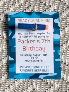 boy birthday parties Simple ideas for a great Nerf Gun Birthday party at home. The Ultimate Nerf Birthday party Guide! These Nerf birthday party ideas are easy and inexpensive! Birthday Party At Home, 9th Birthday Parties, 10th Birthday, Birthday Party Invitations, 5th Birthday Ideas For Boys, 7th Birthday Party For Boys, Birthday Crafts, Pistola Nerf, Nerf Party