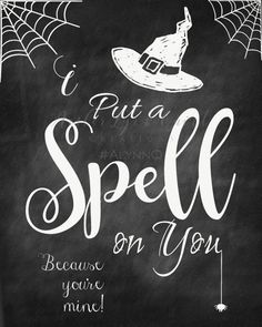 Hocus Pocus Chalkboard Printable I Put a Spell on You    Etsy