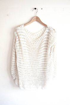 CROCHET PATTERN DIY Sweater crochet pattern easy by joyofmotion. I will get to this point eventually :) Moda Crochet, Pull Crochet, Bag Crochet, Crochet Woman, Crochet Crafts, Crochet Clothes, Crochet Projects, Crochet Sweaters, Crochet Tops