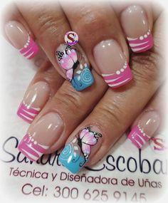 Rosadas Simple Nail Designs, Beautiful Nail Designs, Blue Nails, My Nails, Acrylic Nail Designs, Nail Art Designs, Mobile Nails, Butterfly Nail, Finger