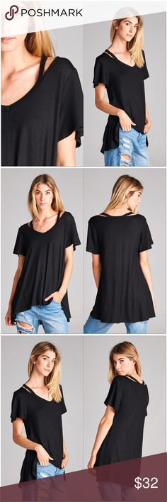 "🚨SALE🚨Black Open Shoulder V-Neck Tunic Top Black Open Shoulder V-Neck Tunic  •Short sleeves •Hi/Low style •Very soft, lightweight fabric with good stretch •95% Rayon 5% Spandex  Measurements: S-  Bust: 34""  Length: 25/27"" M- Bust: 36""  Length: 26/28"" L-  Bust: 38""  Length: 27/29""  #HC881017B ✔️61  ❗️Price is firm unless bundled❗️ Tops"
