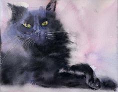 Print Black Cat Watercolor