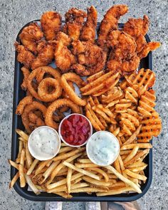 Fried Chicken Tenders, Onion Rings, Waffle Fries & French Fries From Carl's Jr. via: @theirregularlens
