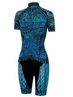 One Tribe (Aqua) Women's Cycling Kit from Cycology. One Tribe. No matter what sort of bike or which surface you ride on: road, dirt, gravel, track....we all belong to 'One Tribe'. Inspired by tribal tattoos. Full of cycling symbolism & bike parts. Ink on paper painting.