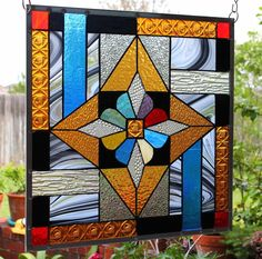 "Stained Glass Window Panel  ""Star Bright"""