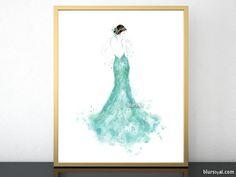 Printable fashion illustration of a seafoam green mermaid dress #FashionBlogger #aquamarine #FashionIllustrations #FashionModel #FashionDrawing #closet #ballgown #DormDecor #GiftForHer #fashion