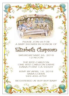 Having a Peter Rabbit Themed baby shower? This is the perfect Invitation for that. Invitation measures and comes with a white envelope. Baby Shower Themes, Shower Ideas, Baby Boy Or Girl, Buy Buy Baby, Peter Rabbit, Infant Activities, Soft Colors, Baby Shower Invitations, Rabbit Baby
