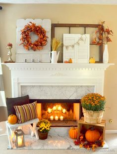 fall mantel at the Frugal Homemaker