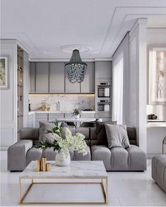 Apartment Interior, Home Living Room, Interior Design Living Room, Living Room Decor, Living Room And Kitchen Together, Small Living Room Designs, Interior Livingroom, Dining Room, Grey Interior Design