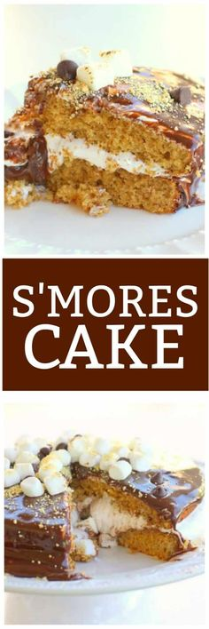 This S'mores Cake has a graham cracker cake filled with marshmallow creme and topped with a milk chocolate frosting. Less mess when camping! #chocolate #smores #cake #recipe Brownie Recipes, Chocolate Recipes, Cookie Recipes, Dessert Recipes, Recipes Dinner, Easy Recipes, Easy No Bake Desserts, Easy Desserts, Graham Cracker Cake