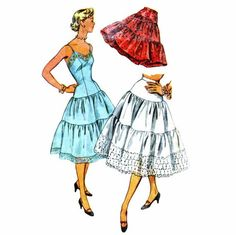 1950s Slip Tiered Petticoat Womens Full or Half by patternshop, $19.99