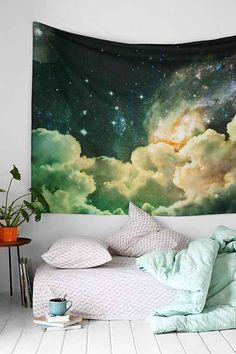 Magical Thinking Cosmos Tapestry (Urban Outfitters) - Lightweight cotton tapestry finished with a dreamy galaxy print, made exclusively for UO by Magical Thinking. The perfect piece for topping off your wall, couch, bed, or favorite chair -- doubles as a beach or picnic blanket and is festival-friendly, too!